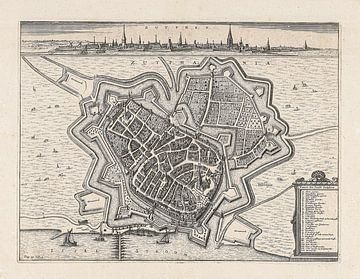 Carte de Zutphen, vers 1650, avec cadre blanc. sur Gert Hilbink