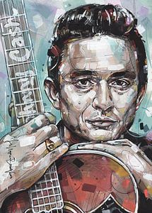 Johnny Cash met gitaar schilderij. van Jos Hoppenbrouwers