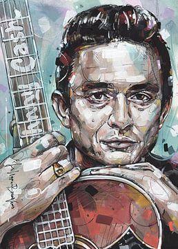 Johnny Cash peinture avec à la guitare. sur Jos Hoppenbrouwers