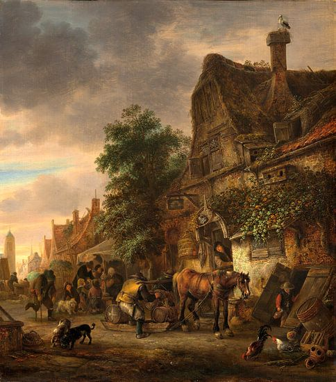 Werklieden voor een herberg, Isack van Ostade van Liszt Collection