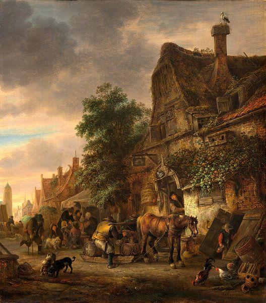 Werklieden voor een herberg, Isack van Ostade