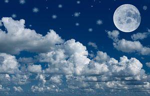 maan,wolken en sterren