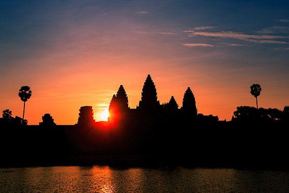 Zonsopkomst bij Angkor Wat, Cambodja
