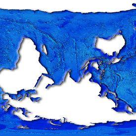 Carte du monde, projection de dauphins sur Frans Blok