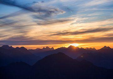 Zonsondergang in de Alpen