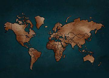 Weltkarte - Dunkelblau und Erdtöne von Studio Malabar