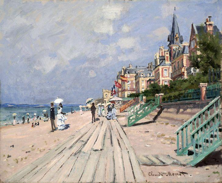 Am Strand von Trouville, Claude Monet von Meesterlijcke Meesters