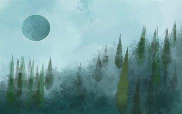 Wald bei Vollmond von Patricia Piotrak
