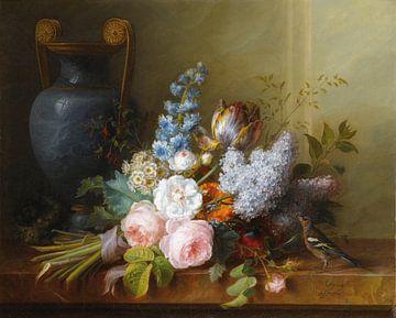 Blumenstillleben mit Vogelnest und Buchfink, Cornelis van Spaendonck