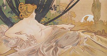 Dawn Painting Liegende Dame Dornröschen I - Jugendstil-Malerei Mucha Jugendstil