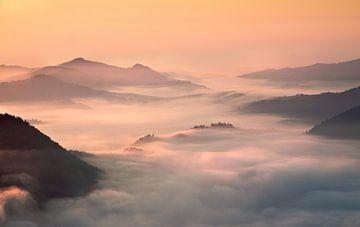 nebligen Morgen in den Bergen, Przemyslaw Kruk von 1x