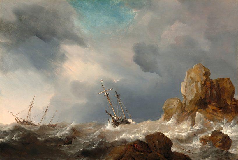 Schiffe im Sturm, Willem van de Velde der Jüngere von Meesterlijcke Meesters