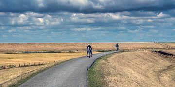 Op de brommer door Friesland in de bocht nabij Westhoek sur