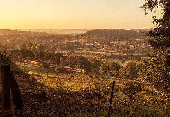 Trein door het Zuid-limburgse landschap