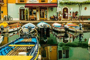 Haven met bootjes in Castelletto, Gardameer, Italie van Paul van Putten