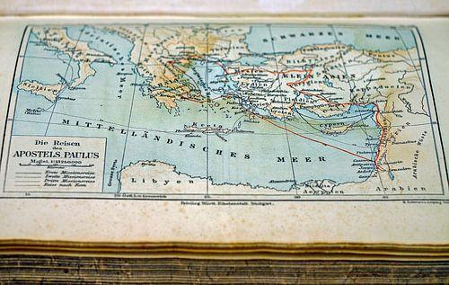 Oude Landkaart in Boek van