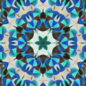 Abstract bloem mandala in rood blauw groen van Maurice Dawson