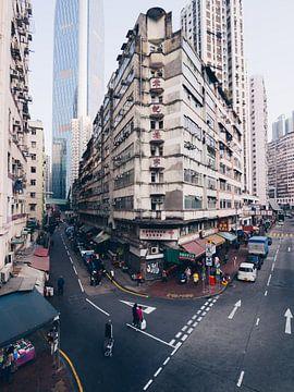 Typische Straßenecke in Wan Chai, auf Hongkong Island von Michiel Dros