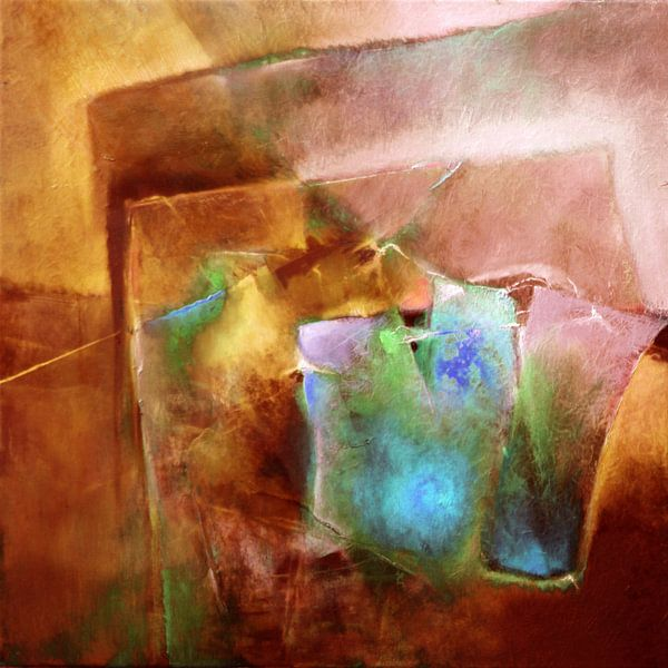 Abstracte compositie : Turquoise ontmoet Siena van Annette Schmucker