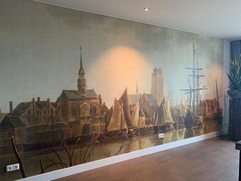 Klantfoto: Gezicht op Dordrecht bij zonsondergang, Aelbert Cuyp, op behang