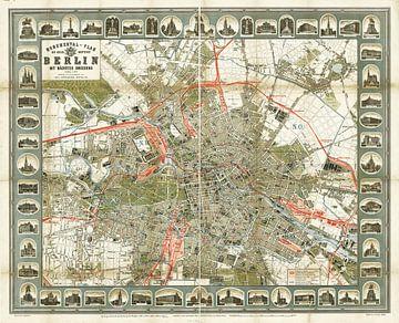 Oude stadsplattegrond van Berlijn,1896 van Atelier Liesjes