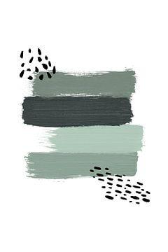 Grüne Pinselstriche - Abstrakter Druck von MDRN HOME