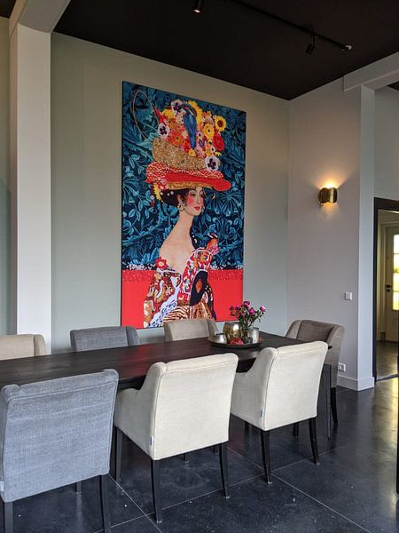 Klantfoto: Klimt dame rechts van Nicole Roozendaal, als print op doek
