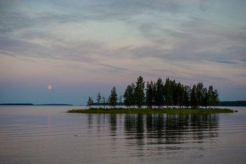 Maan en eiland reflectie