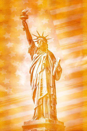 NEW YORK CITY Freiheitsstatue mit Flagge | gold