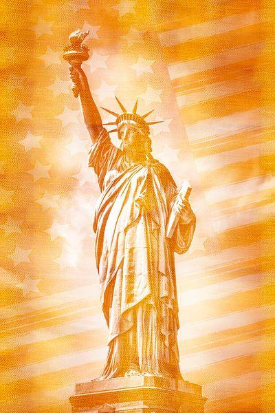 NEW YORK CITY vrijheidsbeeld met vlag | goud van Melanie Viola