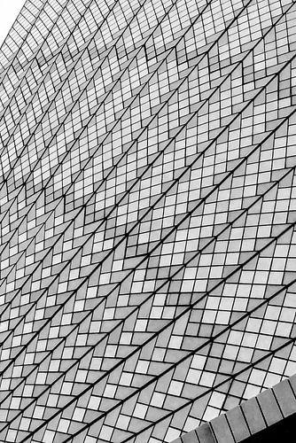 Architectonisch detail van het Sydney Operahouse, Australie