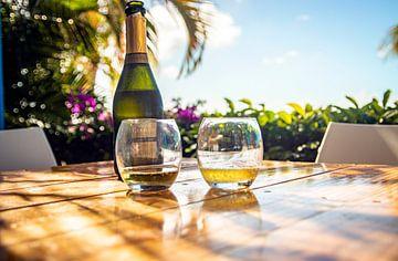 champagne fles en glazen op tropisch eiland van Eiland-meisje