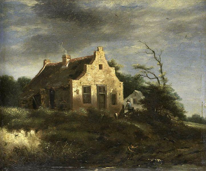 Bauernhaus in waldiger Dünenlandschaft, Jacob Isaacksz. van Ruisdael von Meesterlijcke Meesters