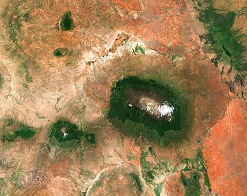 Satellietfoto van de Kilimanjaro, Tanzania van Wigger Tims