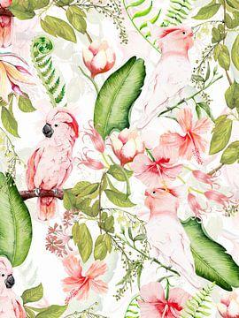 Fleurs et oiseaux tropicaux de la jungle sur Uta Naumann