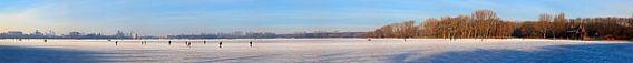 Panorama schaatsen op de Kralingse plas te Rotterdam