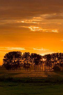 Vuurrode zonsondergang van Koen Boelrijk Photography
