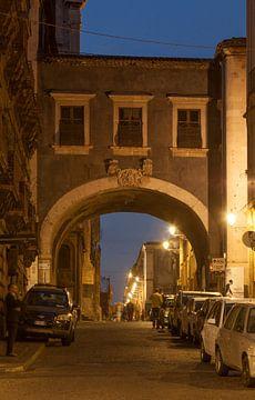 Arco Divia Crociferi with Baroque street Via Crociferi at dusk, Catania, Sicily, Italy, Europe  I To