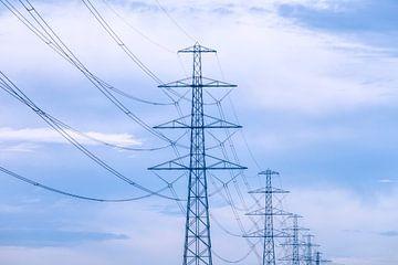 Strommasten in Pastell von
