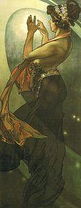 De Maan en de Sterren: De Poolster - Art Nouveau Schilderij Mucha Jugendstil
