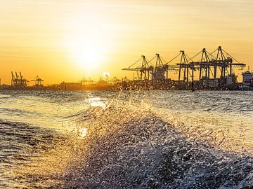 Hafenkräne mit Welle