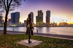 Rotterdam ontwaakt met een mooie zonsopkomst inclusief Tsaar van Arisca van 't Hof