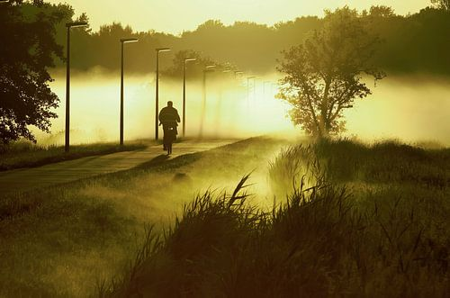 fietser rijdend in de mist  von Dirk van Egmond