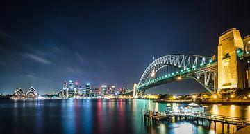 Sydney Skyline bij nacht | Panorama Australië van Ricardo Bouman