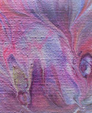 Acrylic Pouring roze blauw paars van Angelique van 't Riet