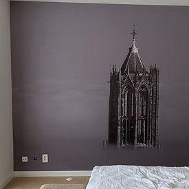 Klantfoto: De Dom in Utrecht boven de mist van Mart Gombert, op naadloos behang