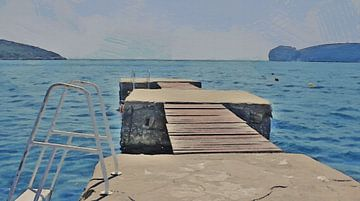 Vakantie! - Steiger met Uitzicht op de Baai van Capo Caccia in Sardinia