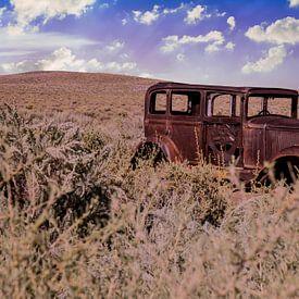 Route 66, Studebaker wrak bij Painted Desert, Arizona USA van Gert Hilbink