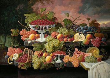 Zweistufiges Stillleben mit Obst und Sonnenuntergangslandschaft, Severin Roesen