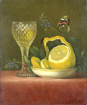 Stilleven met citroen en geslepen glas, Maria Margaretha van Os van